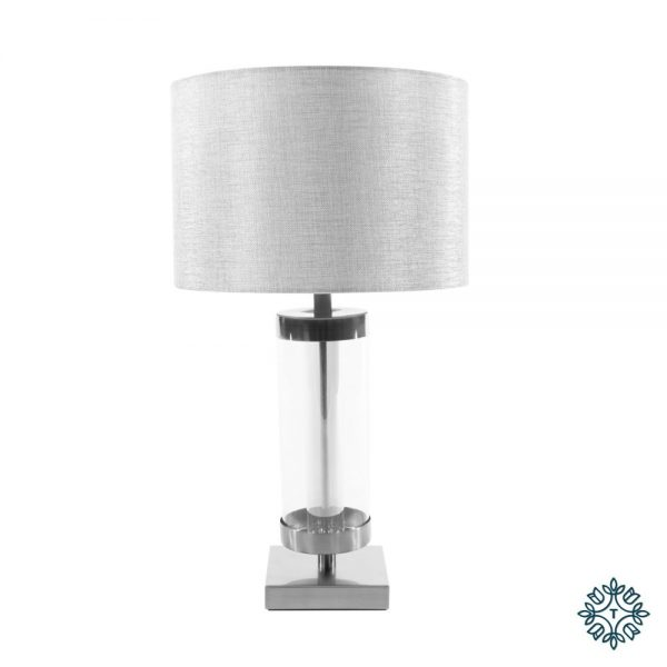 Jane Glass Cylinder Lamp Silver and Grey