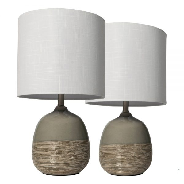 Set Of 2 Lamps - White Linen Shade