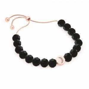Moon Bolo Bangle Black Beads Rose Gold