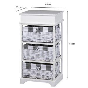 Boston 3 Basket Storage Unit White