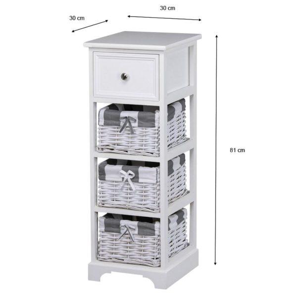Boston 1 Drawer 3 Basket Storage Unit White