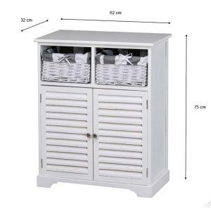 Boston 2 Door 2 Basket Storage Cabinet White