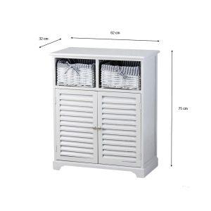 Chester 2 Door 2 Basket Storage Cabinet Grey