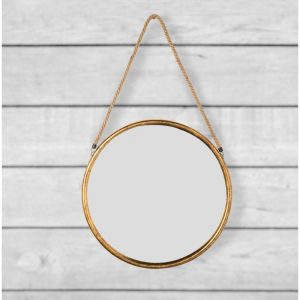 Small Round Gold Metal Mirror on Hanging Rope 38cm