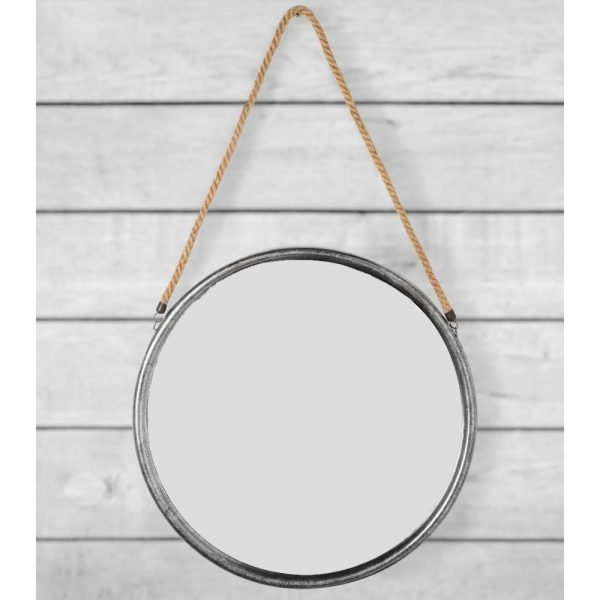 Large Round Silver Metal Mirror on Rope 58cm