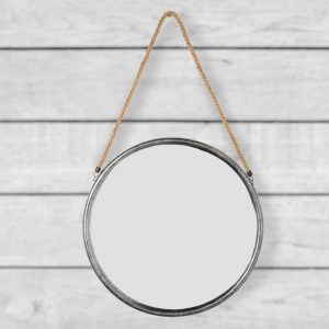 Small Round Silver Metal Mirror Hanging Rope 38cm
