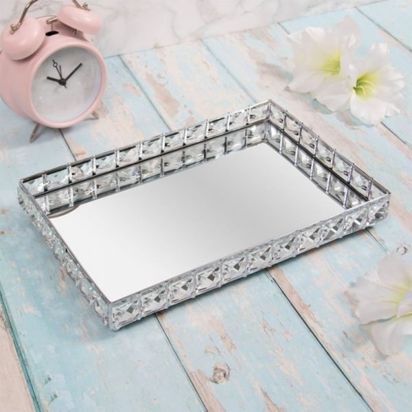 Rectangular Silver Crystal Edged Mirrored Tray
