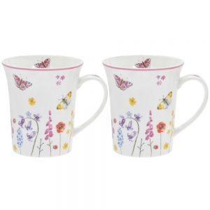 Butterfly Garden Set of 2 China Mugs