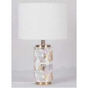 Table Lamp With Coloured Leaves & White Shade
