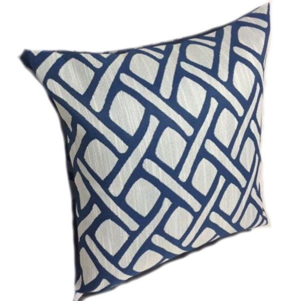 Navy and Grey Weave Design Cushion Cover 44cm